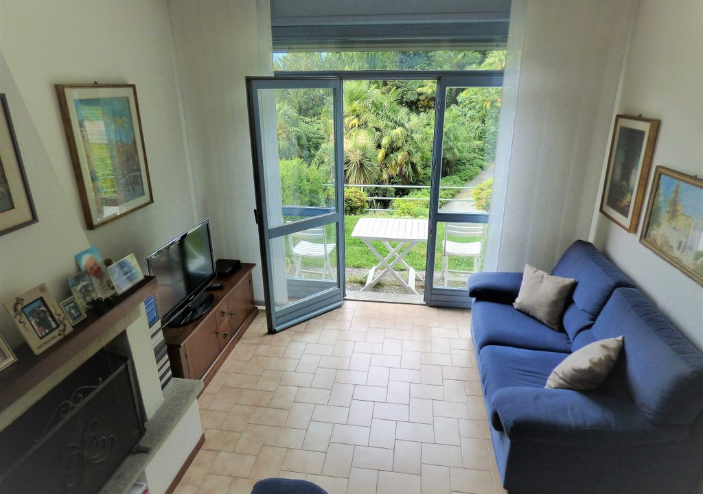 Living room with garden and view